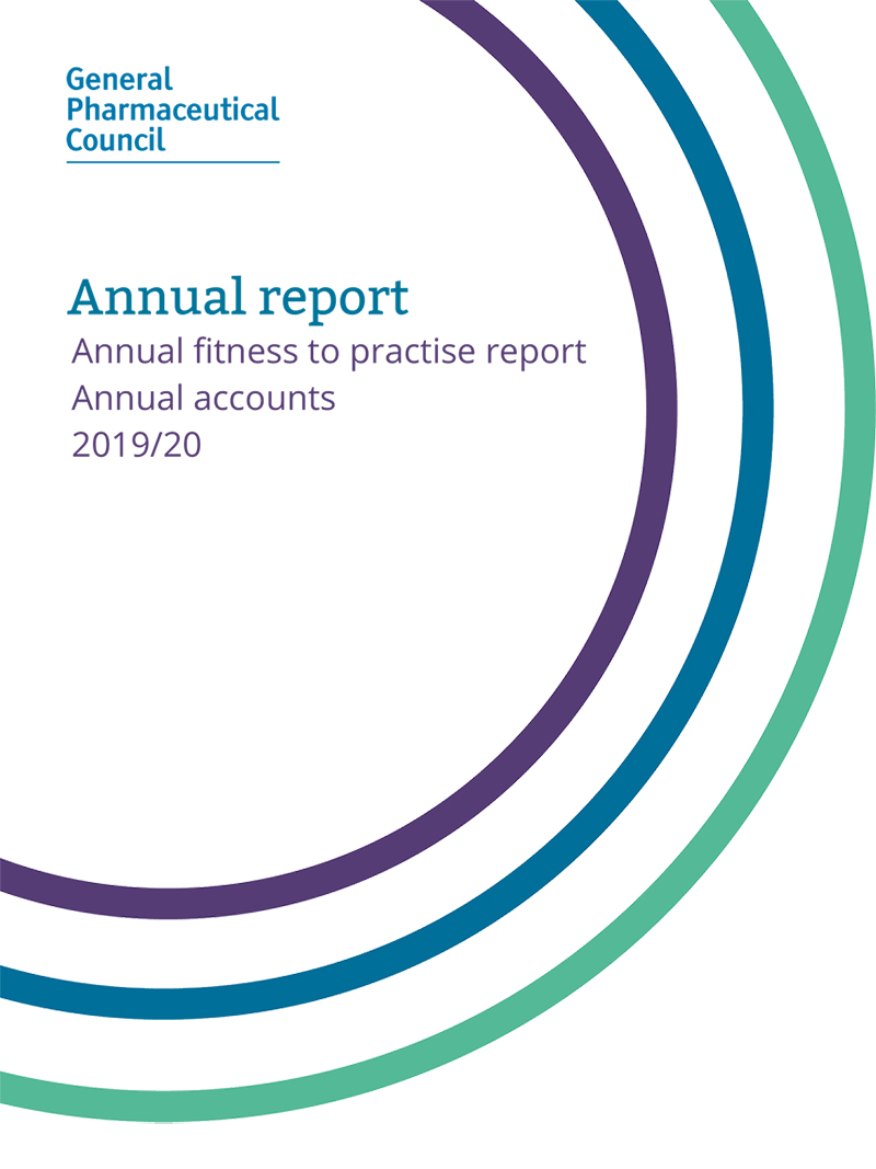 GPhC Annual Report, annual fitness to practice report, annual accounts 2019/20 - document cover