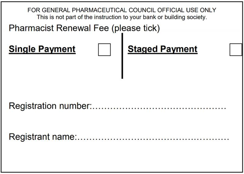 Image of direct debit form for you to fill in and make sure you tell us if you want to pay annually (tick 'Single payment') or quarterly (tick 'Staged payment'). Include your name and registration number so we can match the payment instruction to your registration